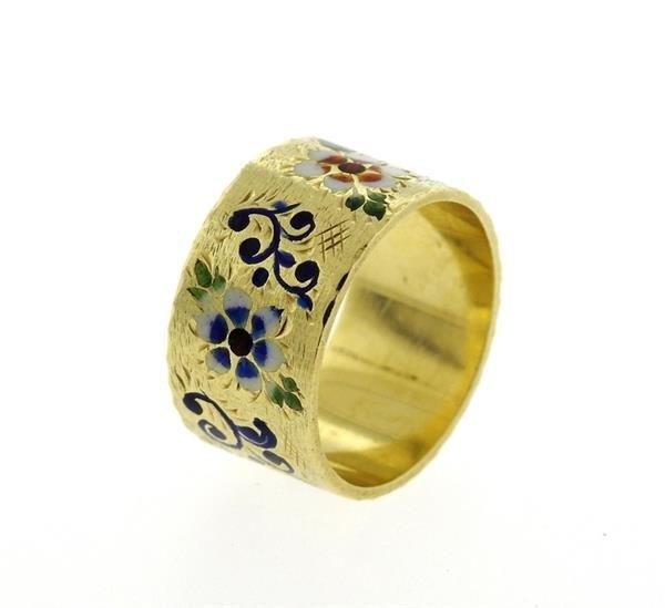 Antique 14K Gold Enamel Wide Band Ring - 3