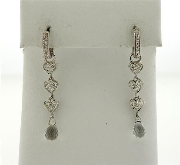 18K Gold Diamond Crystal Dangle Earrings