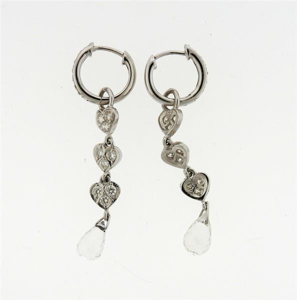 18K Gold Diamond Crystal Dangle Earrings - 3