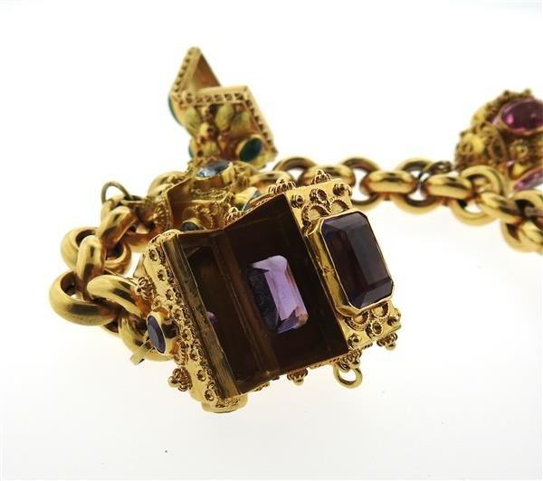 Large 14k 18k Gold Multi Color Gemstone Charm Bracelet - 10