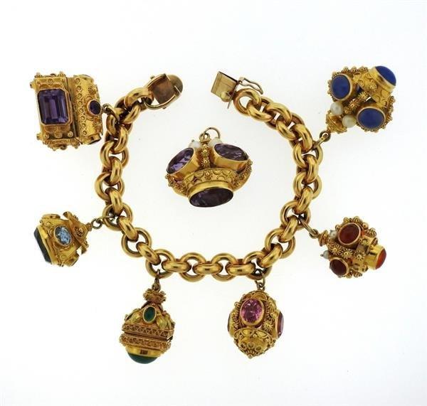 Large 14k 18k Gold Multi Color Gemstone Charm Bracelet