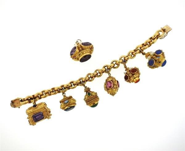 Large 14k 18k Gold Multi Color Gemstone Charm Bracelet - 2