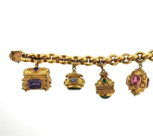 Large 14k 18k Gold Multi Color Gemstone Charm Bracelet - 3