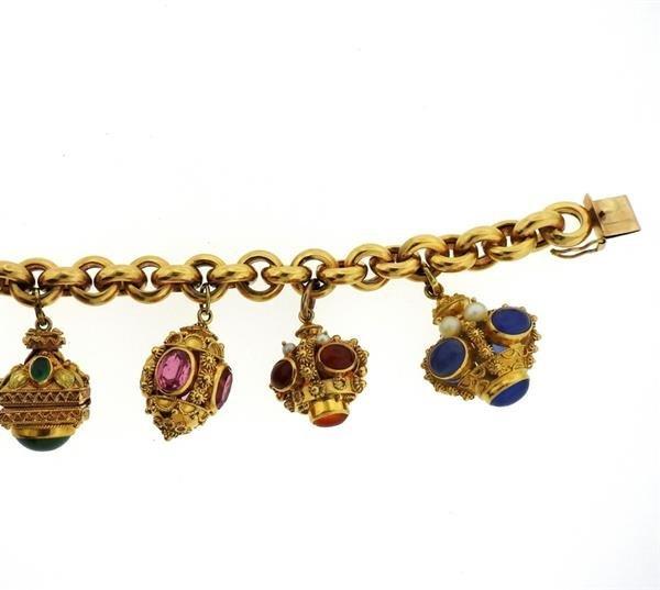 Large 14k 18k Gold Multi Color Gemstone Charm Bracelet - 4