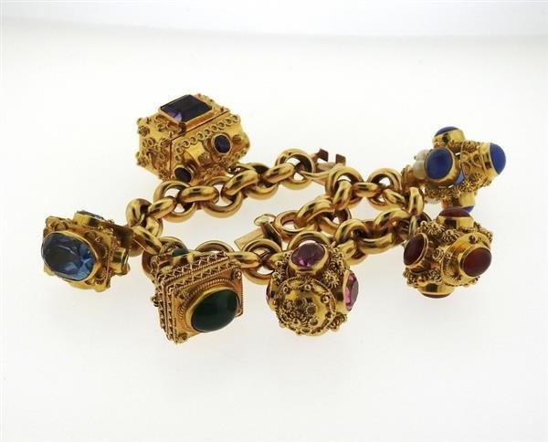Large 14k 18k Gold Multi Color Gemstone Charm Bracelet - 5