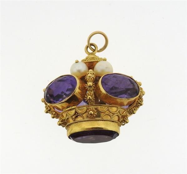 Large 14k 18k Gold Multi Color Gemstone Charm Bracelet - 6