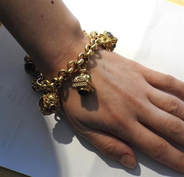 Large 14k 18k Gold Multi Color Gemstone Charm Bracelet - 7