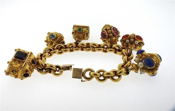 Large 14k 18k Gold Multi Color Gemstone Charm Bracelet - 8