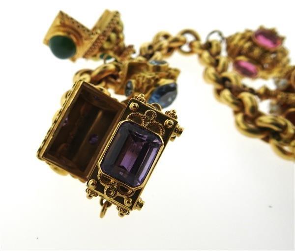 Large 14k 18k Gold Multi Color Gemstone Charm Bracelet - 9
