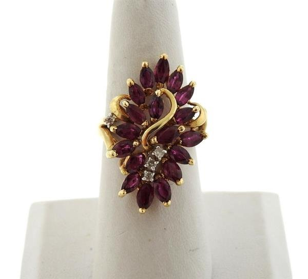 14K Gold Diamond Red Stone Cocktail Ring