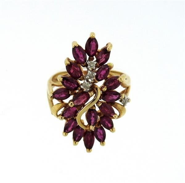 14K Gold Diamond Red Stone Cocktail Ring - 2
