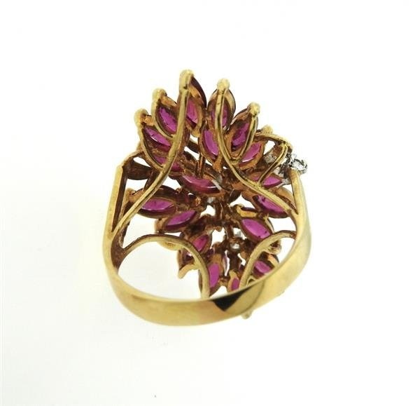 14K Gold Diamond Red Stone Cocktail Ring - 4