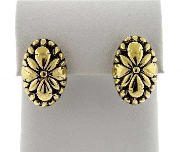 John Hardy Sterling 18k Gold Oval Earrings