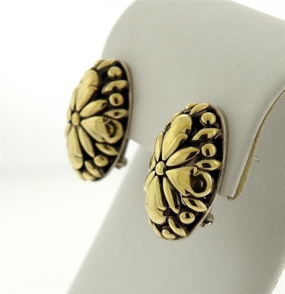 John Hardy Sterling 18k Gold Oval Earrings - 2