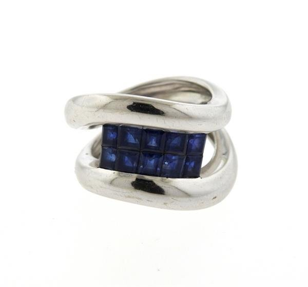 18K Gold Sapphire Wave Band Ring