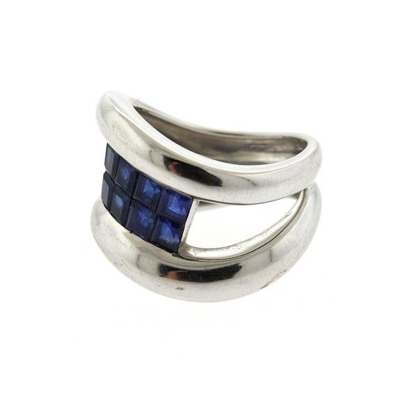 18K Gold Sapphire Wave Band Ring - 2