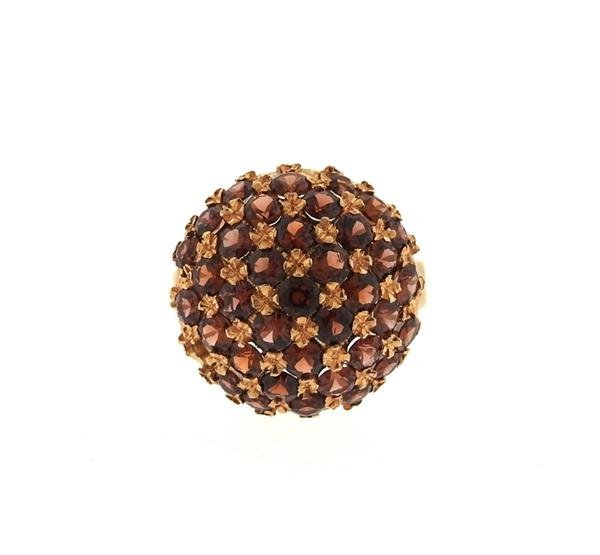 Antique 18K Gold Garnet Dome Ring