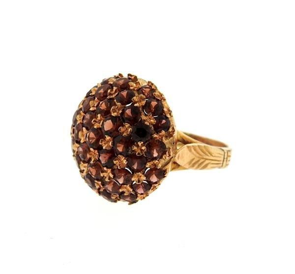 Antique 18K Gold Garnet Dome Ring - 2