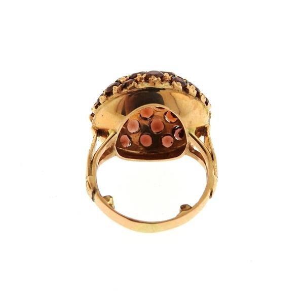 Antique 18K Gold Garnet Dome Ring - 3
