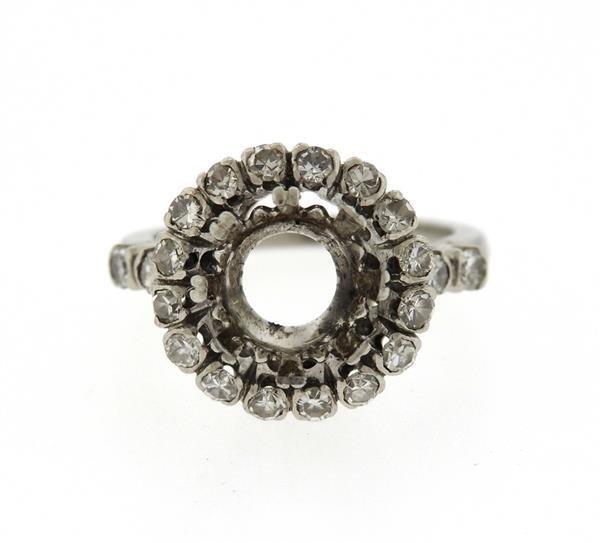 Mid Century Platinum Diamond Engagement Ring Mounting