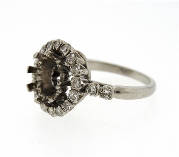 Mid Century Platinum Diamond Engagement Ring Mounting - 2