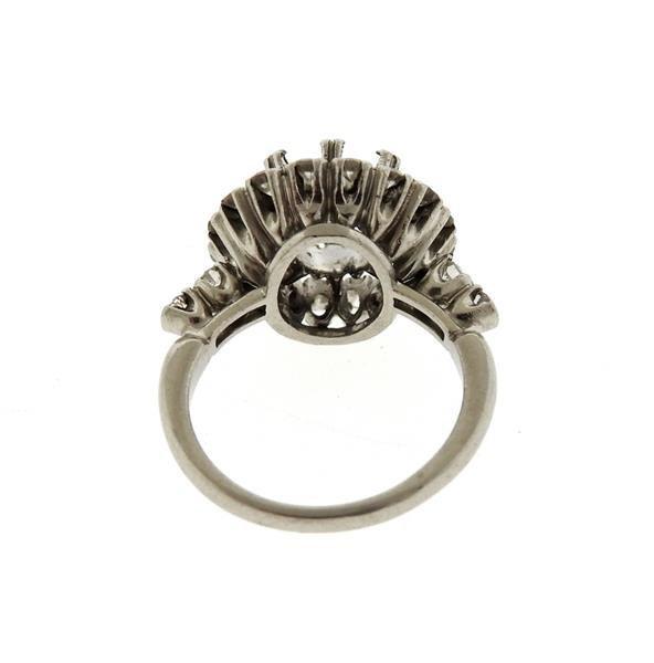 Mid Century Platinum Diamond Engagement Ring Mounting - 3