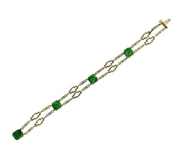Art Deco 1920s 14K Gold Carved Jade Link Bracelet