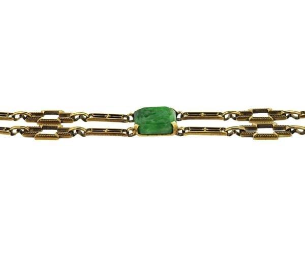 Art Deco 1920s 14K Gold Carved Jade Link Bracelet - 2