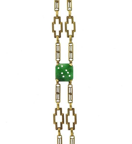 Art Deco 1920s 14K Gold Carved Jade Link Bracelet - 3
