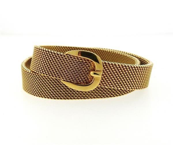 Hermes 18K Gold Mesh Double Wrap Buckle Bracelet