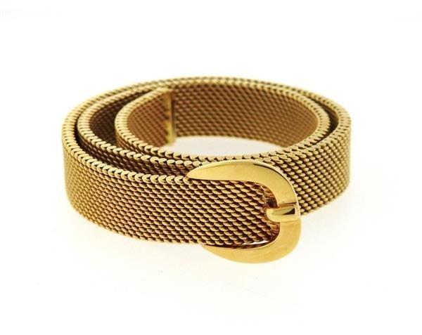 Hermes 18K Gold Mesh Double Wrap Buckle Bracelet - 2