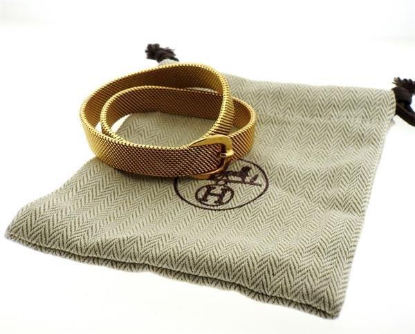 Hermes 18K Gold Mesh Double Wrap Buckle Bracelet - 4