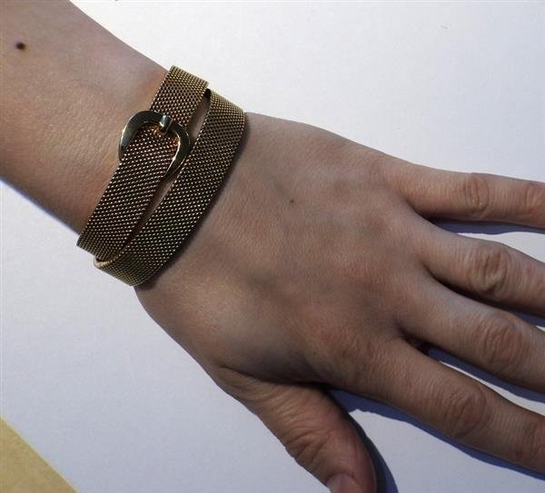Hermes 18K Gold Mesh Double Wrap Buckle Bracelet - 5