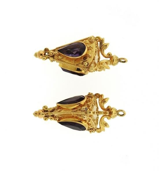 18K Gold Amethyst Etruscan Charm Pendant Lot of 2