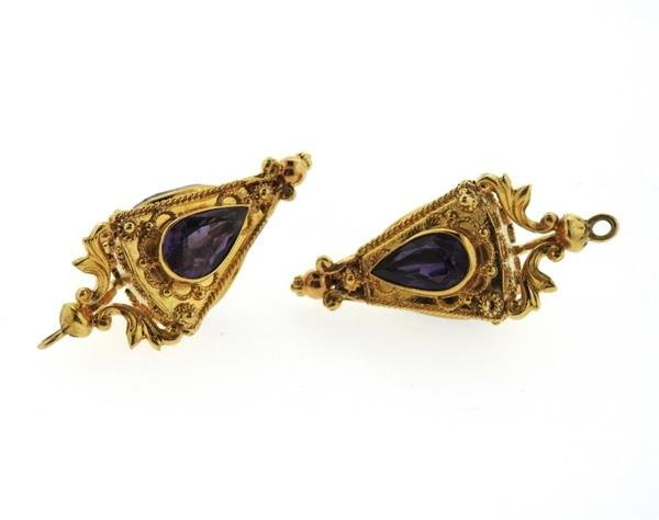18K Gold Amethyst Etruscan Charm Pendant Lot of 2 - 2