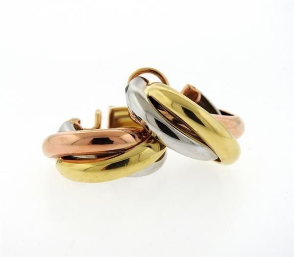 Cartier Trinity 18K Tri Color Hoop Earrings