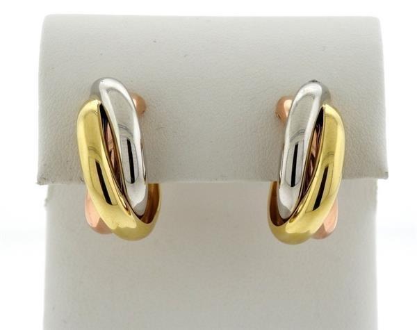 Cartier Trinity 18K Tri Color Hoop Earrings - 4