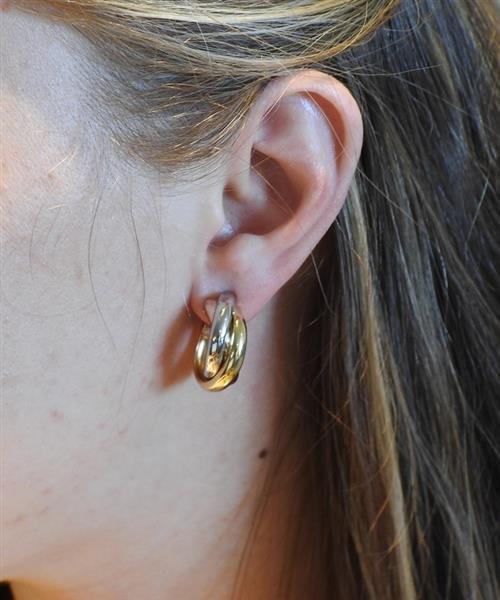 Cartier Trinity 18K Tri Color Hoop Earrings - 5