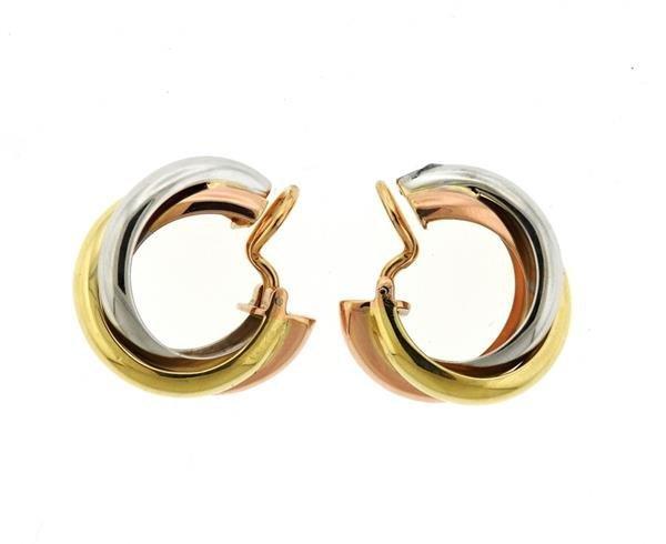 Cartier Trinity 18K Tri Color Hoop Earrings - 6