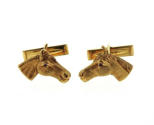14k Yellow Gold Horse Head Esquaterian Cufflinks