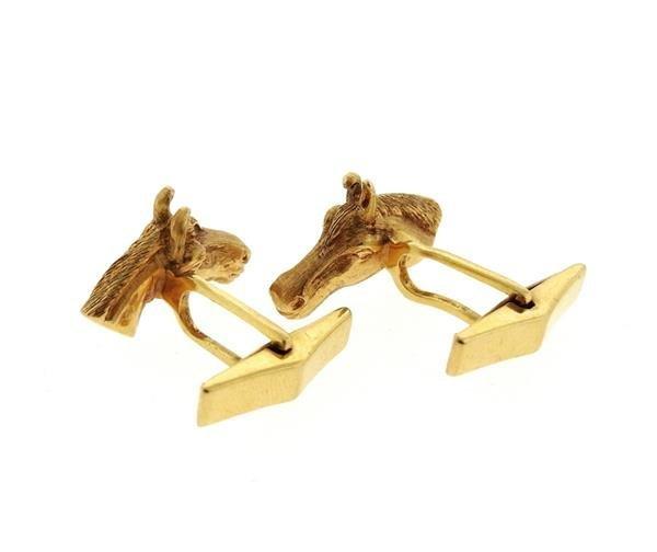 14k Yellow Gold Horse Head Esquaterian Cufflinks - 3