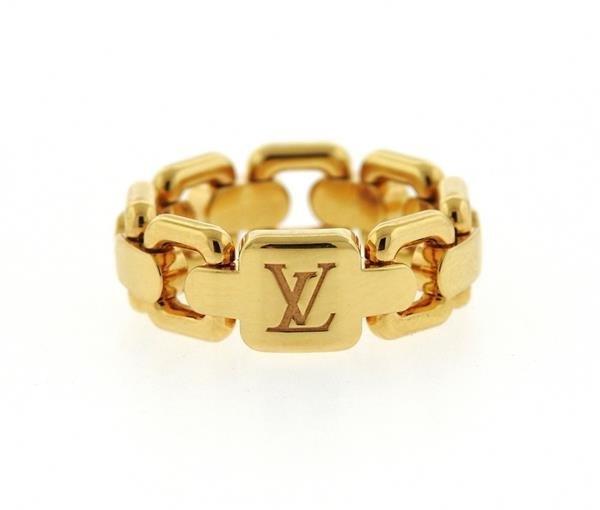 Louis Vuitton 18k Gold Link Band Ring