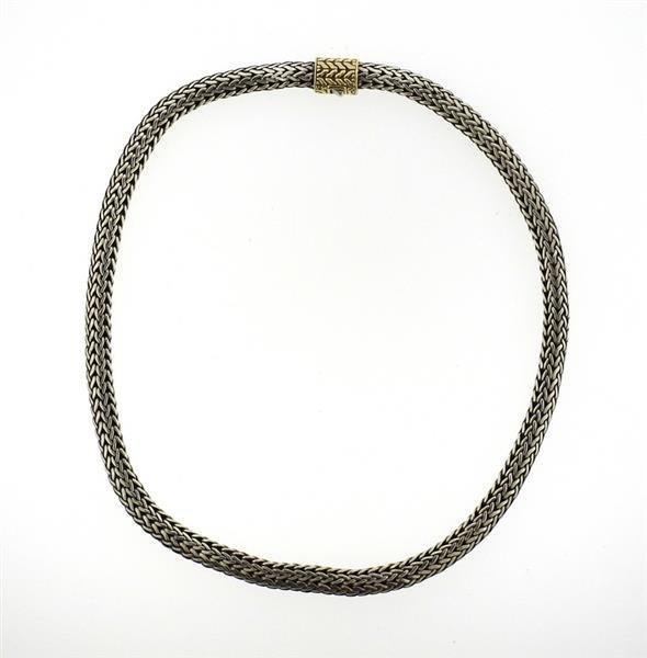 John Hardy Sterling 18k Gold Woven Chain Necklace