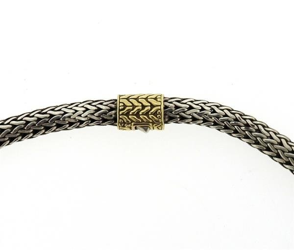 John Hardy Sterling 18k Gold Woven Chain Necklace - 2