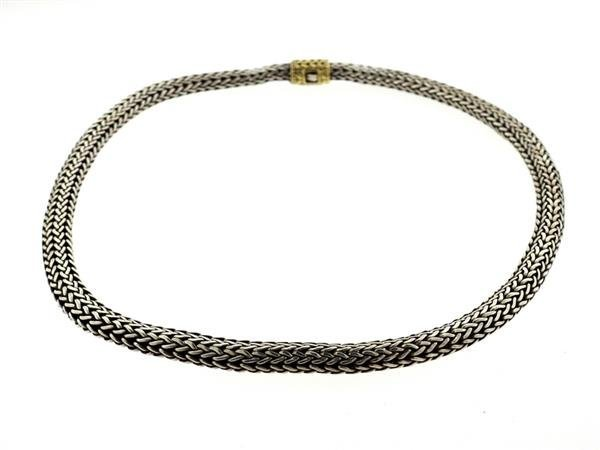 John Hardy Sterling 18k Gold Woven Chain Necklace - 3