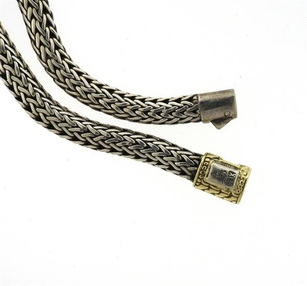 John Hardy Sterling 18k Gold Woven Chain Necklace - 4
