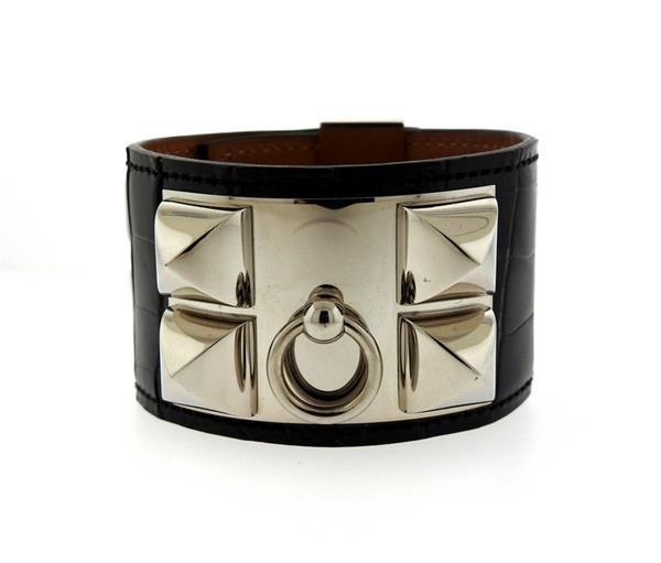 Hermes Collier de Chien Alligator Leather Wide Bracelet