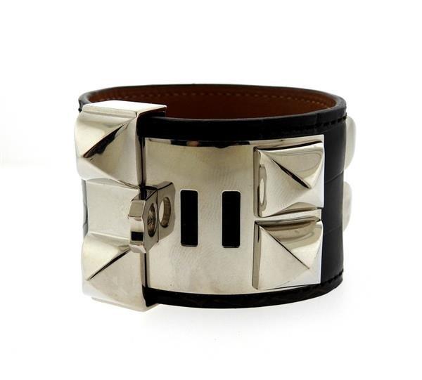 Hermes Collier de Chien Alligator Leather Wide Bracelet - 2