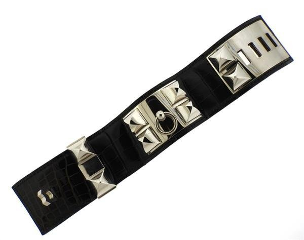 Hermes Collier de Chien Alligator Leather Wide Bracelet - 3