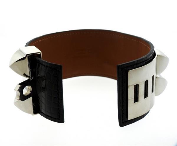 Hermes Collier de Chien Alligator Leather Wide Bracelet - 4